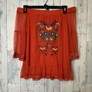 Umgee Off the Shoulder Red Embroidered Mesh TopEUC
